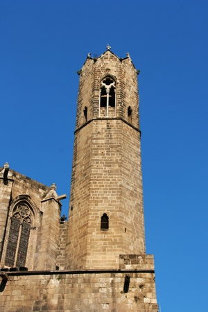 Barcelona: medieval Tower of Santa Agata Chapel (also known as King's Chapel) at Placa del Rei (King's Square), in the heart of Barri Gotic (gothic quarter). Barcelona, Catalonia, Spain Stock Photo - 9219446