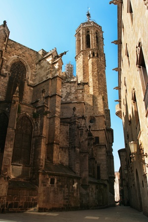Barcelona: Gothic Cathedral of Santa Eulalia in Barri Gotic district (Gothic Quarter). Barcelona, Catalonia, Spain