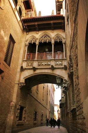 Barcelona: neogothic bridge at Carrer del Bisbe (Bishop Street), near Placa del Rei and Placa Sant Jaume, in the heart of Barri Gotic (Gothic Quarter). Barcelona, Catalonia, Spain