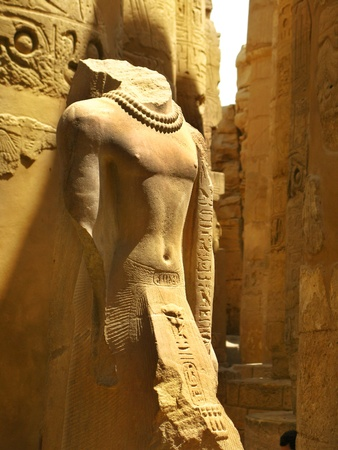 Luxor: Beautiful statue at the Great Hypostyle Hall, at the Temple of Karnak (ancient Thebes). Luxor, Egypt Stock Photo