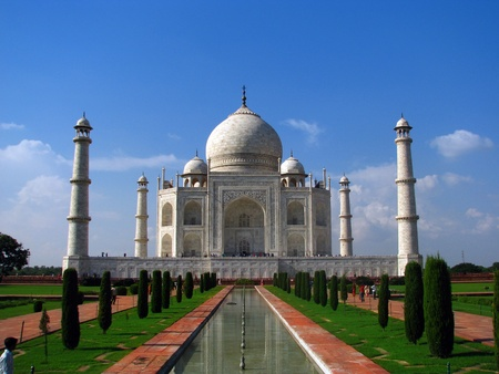 famous place: Taj Mahal, the amazing mausoleum in Agra (India), one of the highlights of worldwide architecture of all times. Stock Photo