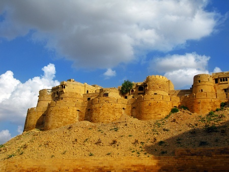 Jaisalmer, the magnificent Golden City in the heart of Rajasthan (India), surrounded by the desert of Thar. Stock Photo