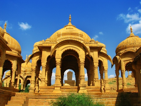 monument in india: Jaisalmer, the magnificent Golden City in the heart of Rajasthan (India), surrounded by the desert of Thar. Stock Photo