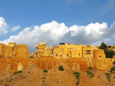 Medieval walls of Jaisalmer, the magnificent Golden City in the heart of Rajasthan (India), surrounded by the desert of Thar photo
