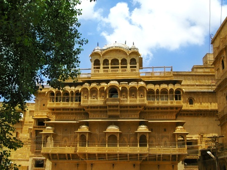 rajput: Palace of the Maharajah in Jaisalmer, the magnificent Golden City in the heart of Rajasthan (India), surrounded by the desert of Thar Stock Photo