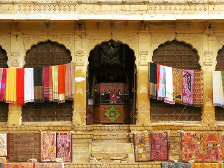 Beautiful textile handcrafts in the fort of Jaisalmer, the magnificent Golden City in the heart of Rajasthan (India), surrounded by the desert of Thar