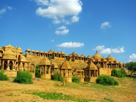 Royal cenotaphs of Bada Bagh in Jaisalmer, the magnificent Golden City in the heart of Rajasthan (India), surrounded by the desert of Thar Stock Photo