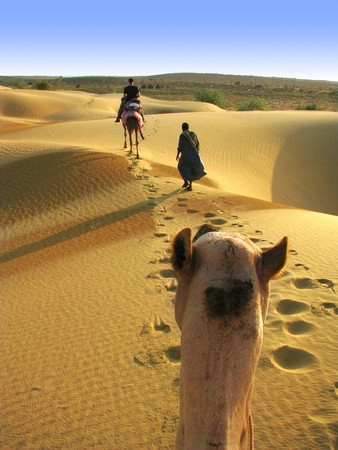 India: Riding a camel through the dunes of Thar desert, near Jaisalmer, in Rajasthan.