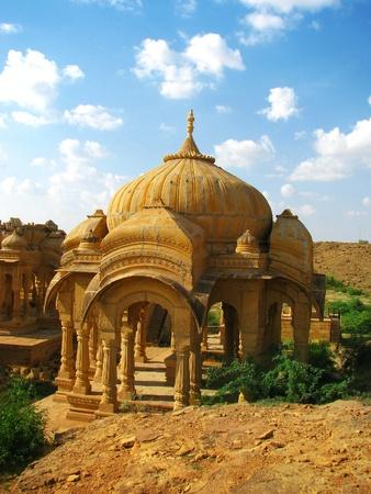 Royal cenotaphs of Bada Bagh in Jaisalmer, India. photo