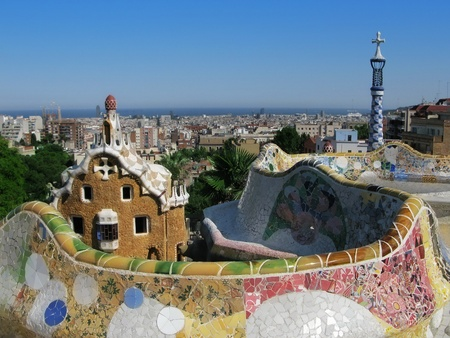 guell: Barcelona: Park Guell, the famous and beautiful park designed by Antoni Gaudi, one of the highlights of the city Stock Photo
