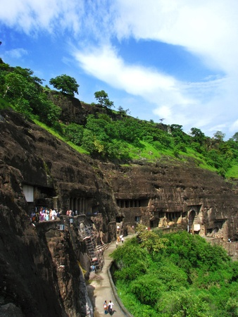 Ajanta Caves, India: amazing site of ancient buddhist temples, carved in the rock as large caves. Started 2nd century BC.