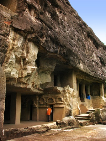 Ajanta Caves, India: amazing site of ancient buddhist temples, carved in the rock as large caves. Started 2nd century BC.  photo
