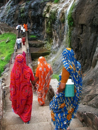 2nd century: Pilgrims at Ajanta Caves, India: amazing site of ancient buddhist temples, carved in the rock as large caves. Started 2nd century BC.