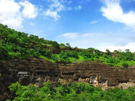 Ajanta Caves, India: amazing site of ancient buddhist temples, carved in the rock as large caves. Started 2nd century BC. Unesco World Heritage. photo