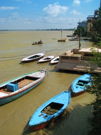 Varanasi (Benares), India: View of sacred river Ganges near Assi Ghat. photo