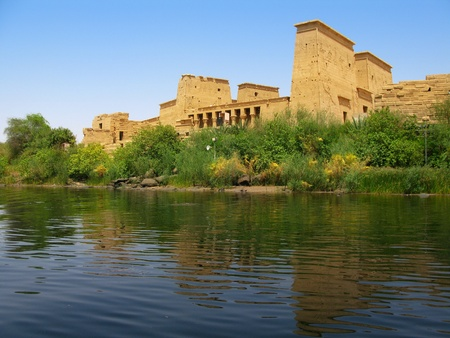 nile: Aswan, Egypt  The amazing Temple of Isis at Philae island in Lake Nasser  Located at 11 km of Aswan, Egypt