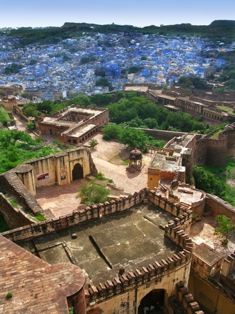 Jodhpur, India: view of the amazing Blue City, from the great Mehrangarh Fort,  in the heart of Rajasthan. Stock Photo - 12429456