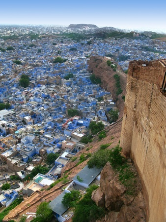 mughal architecture: Jodhpur, India: view of the amazing Blue City, from the great Mehrangarh Fort,  in the heart of Rajasthan.