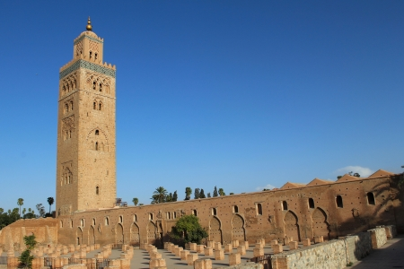Koutoubia Mosque, most famous symbol of Marrakesh city, Morocco.