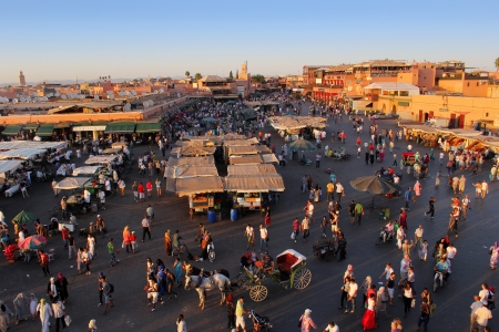 The famous Marrakesh square Djemaa el Fna, center of the old town and tourism highlight Morocco