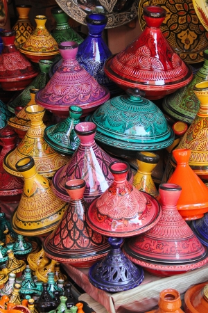 northern african: Marrakesh  colorful selection of tajines, the famous traditional pot and dish from Morocco, seen in the souks of the Old Medina in Marrakesh
