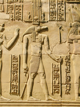 Temple of Kom Ombo, Egypt  Sobek - the crocodile-headed god of the ancient egyptians Stock Photo