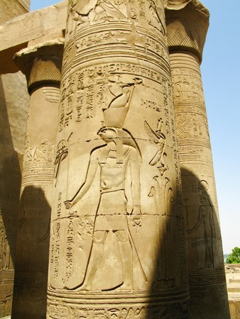egypt anubis: Temple of Kom Ombo, Egypt  column with relief of Horus, the ancient falcon-headed god
