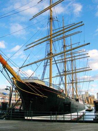 sea seaport: New York  old, historic ship  Peking  docked at South Street Seaport  New York City, USA Editorial