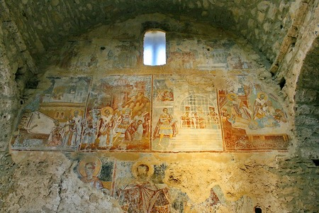 Ancient fresco paintings on the Medieval byzantine fortress of Mystras  UNESCO World heritage , near to historical city of Sparta  Greece  Editorial