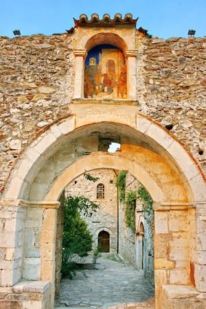laconia: Medieval byzantine fortress of Mystras  UNESCO World heritage , near to historical city of Sparta  Greece