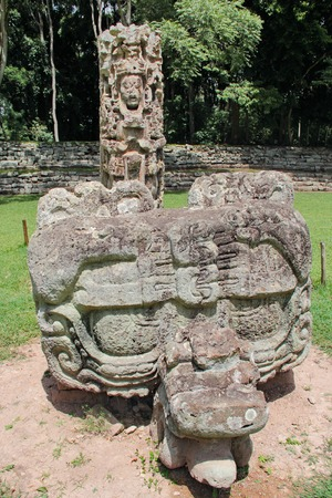 Stela F and its altar (carved in 721 AC) at the Mayan archeological site of Copan, Honduras.