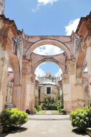 Antigua, Guatemala: Ruins of Cathedral of Santiago, built in 1545, and damaged by the big earthquake of 1773.