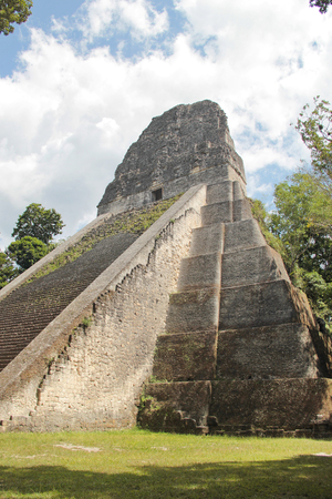 tourism in belize: Tikal, Guatemala: Temple V, one of the major pyramids  (57 metres high) at Tikal, the most important archaeological site of the pre-Columbian Maya civilization, and dated to about AD 700, during the reign of Nun Bak Chak, in the Late Classic period.