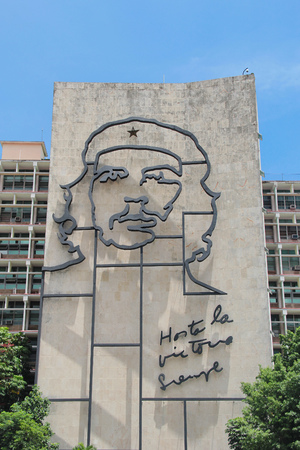 Iconic iron mural of Che Guevaras face on Ministry of Interior building, at the Revolution Square in Havana, Cuba
