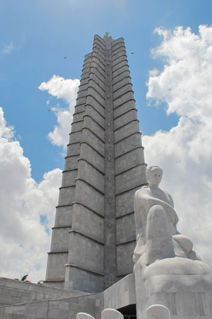 Iconic Jose Marti memorial at Plaza de la Revolucion (Revolution Square) in Havana, Cuba. The famous marble monument is 109m tall, one of the tallest buildings in the country.