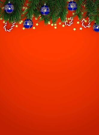 Christmas ball, candy canes, pine branches and stars. 3d illustration 3d representation 写真素材