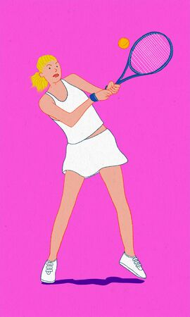 Tennis player woman 2 on pink background Banco de Imagens