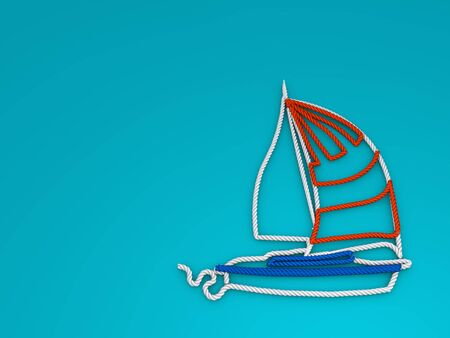 3d render, 3d illustrations. Boat made of rope on a light blue background