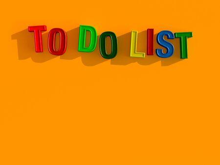 3d illustration blackboard to do list in magnetic letters