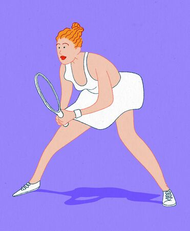 Tennis player woman 2 on purple background