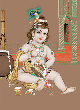 illustration of Indian god Vishnu 矢量图像