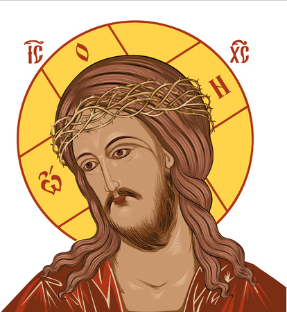 Jesus passion Religious Icon isolated over white background and color.
