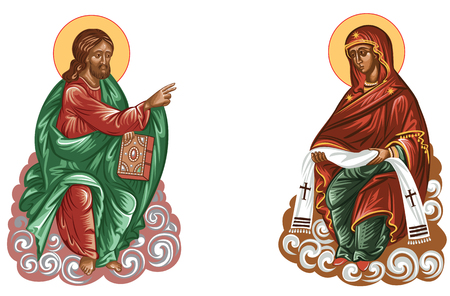 Jesus and Mary virgin-Religious Icon isolated over white background and color. Vettoriali