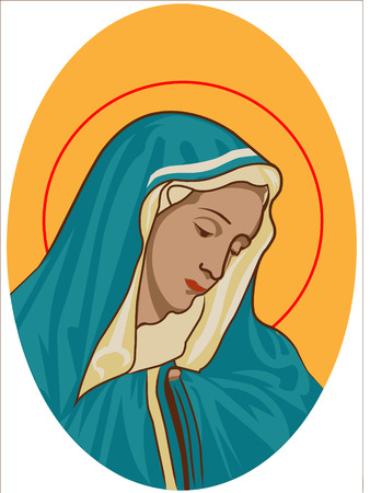 holy virgin mary-portrait of the holy virgin mary Religious Icon isolated over white background 免版税图像 - 51226013