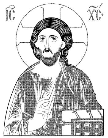 Christ Pantocrator mosaic style 矢量图像