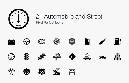 21 Automobile and Street Pixel Perfect Icons Vector
