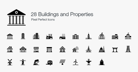 28 Buildings and Properties Pixel Perfect Icons Vector