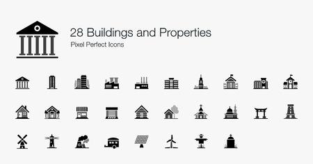 28 Gebäude und Immobilien Pixel Perfect Icons Standard-Bild - 31361089