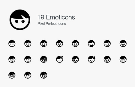 19 Emoticons Pixel Perfect Icons Vector