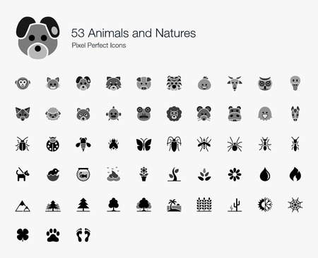 53 Animals and Natures Pixel Perfect Icons Vector